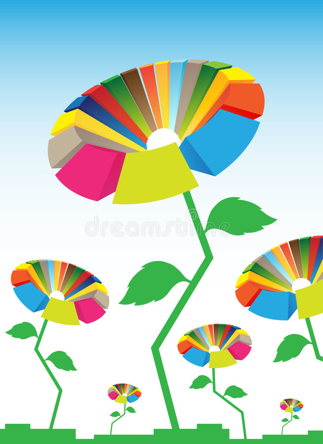 цифровые цветки иллюстрация вектора
