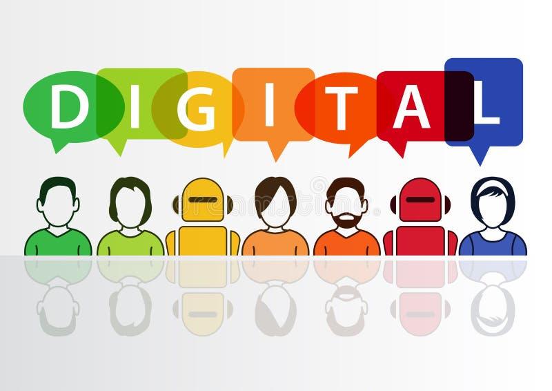 Цифров и предпосылка цифрования схематическая Иллюстрация вектора красочных группы людей и роботов иллюстрация штока