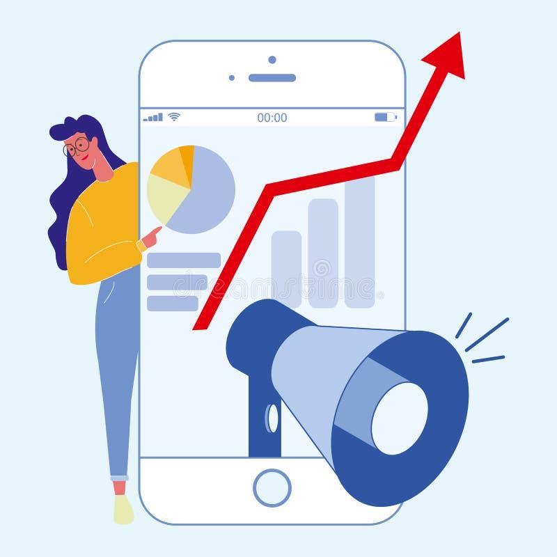 Цифров, социальные средства массовой информации выходя плоскую иллюстрацию вышед на рынок на рынок иллюстрация вектора