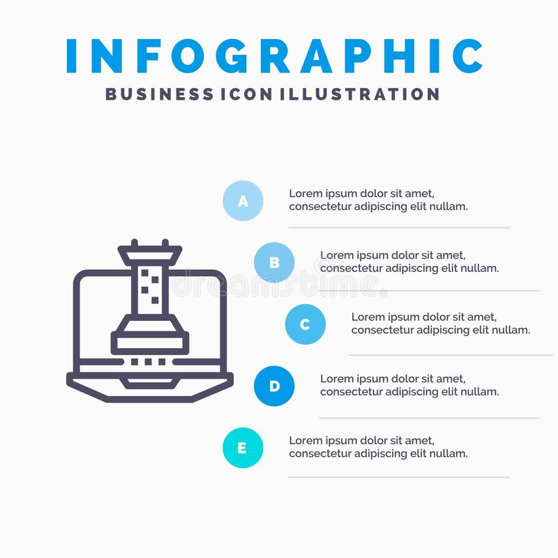 Цифров, стратегия, стратегия цифров, выходя на рынок линия значок с предпосылкой infographics представления 5 шагов иллюстрация вектора