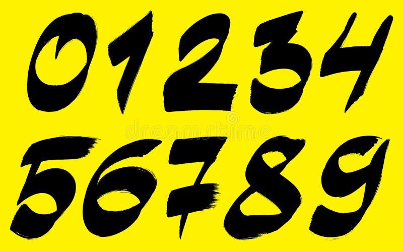 Цифры излишка бюджетных средств Brushstroke установили желтую предпосылку 0n бесплатная иллюстрация