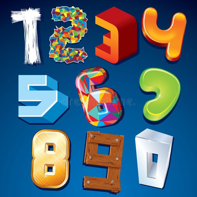 Цифр в различных стилях. Элементы дизайна вектора бесплатная иллюстрация