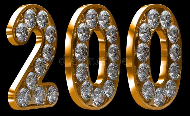 цифр 200 диамантов золотистый incrusted иллюстрация вектора