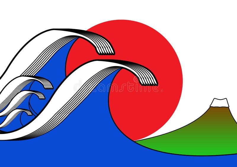 цунами японии произведения искысства иллюстрация вектора