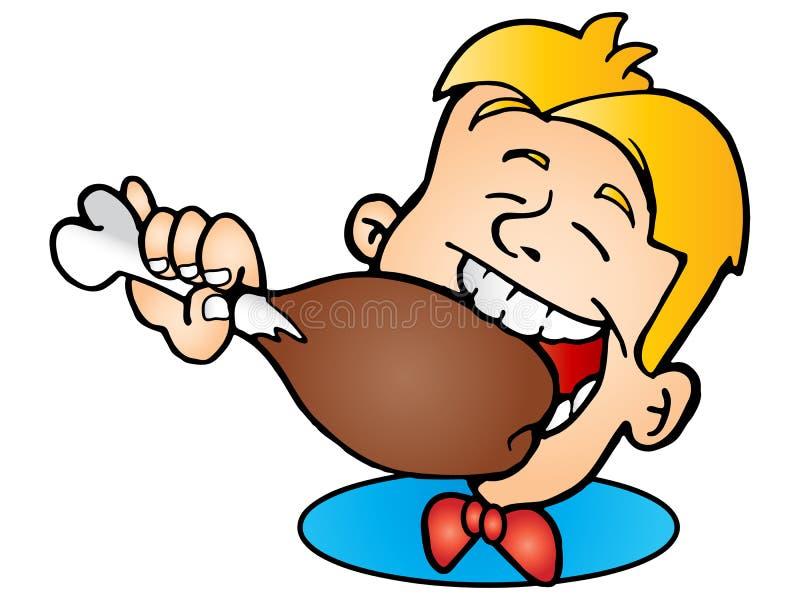 цыпленок вкусный ест зажарено иллюстрация штока