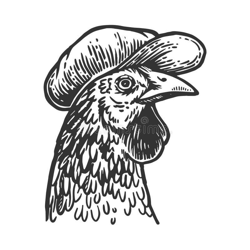 Цыпленок в векторе гравировки плоской крышки бесплатная иллюстрация