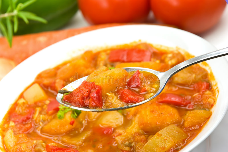 цыпленок груди смешал овощ stew супа стоковое фото rf