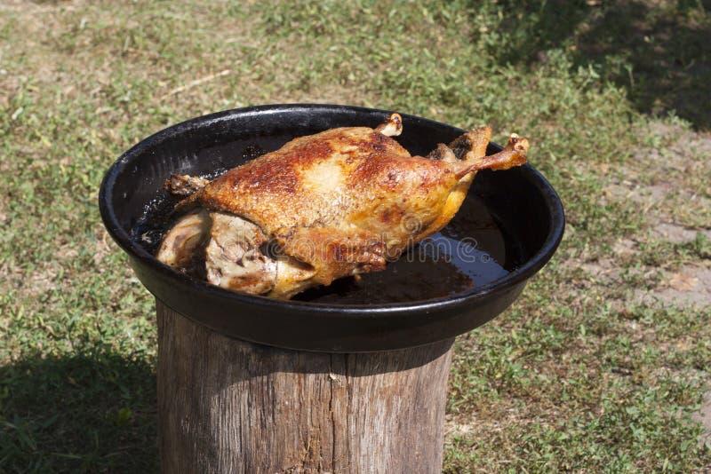 Цыпленок зажаренной в духовке утки с хрустящим фото кожи стоковая фотография