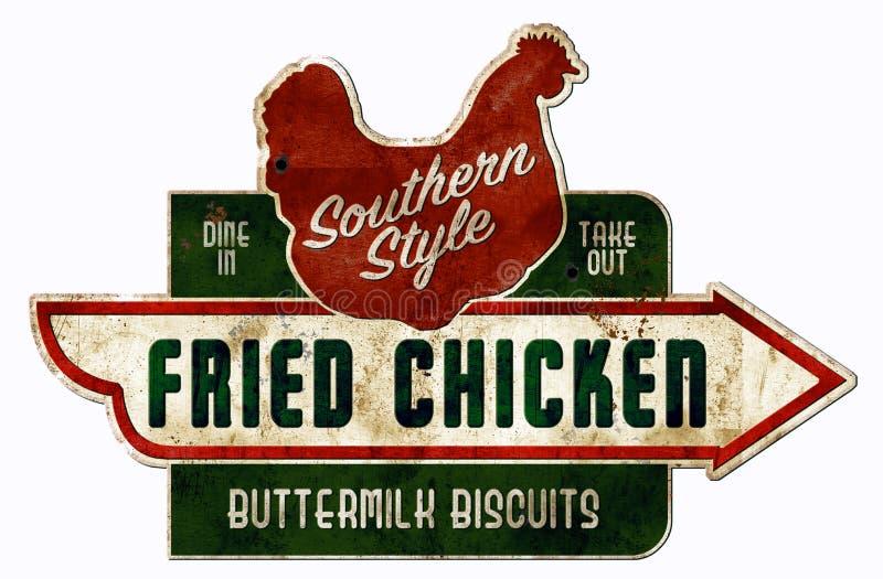 Цыпленок и печенья подписывают ретро винтажный южный варить стоковое изображение