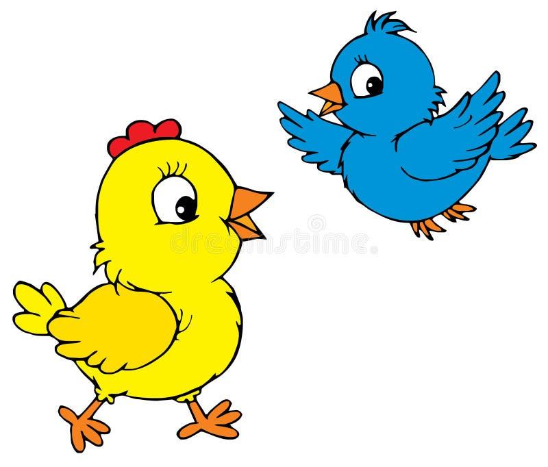 Цыпленок и птица (вектор) иллюстрация вектора