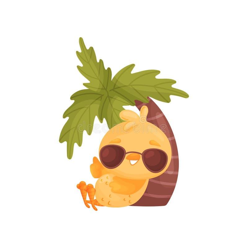 Цыпленок мультфильма лежит под пальмой r иллюстрация штока