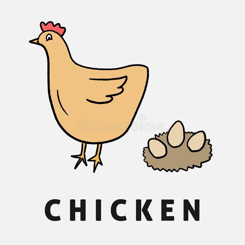 Цыпленок шаржа детей иллюстрация штока