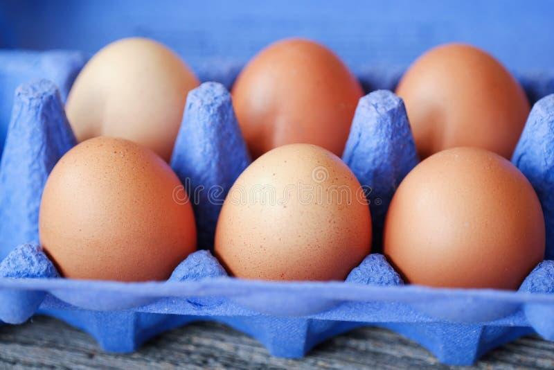 Цыпленок eggs в фиолетовом пакете на таблице стоковые фото