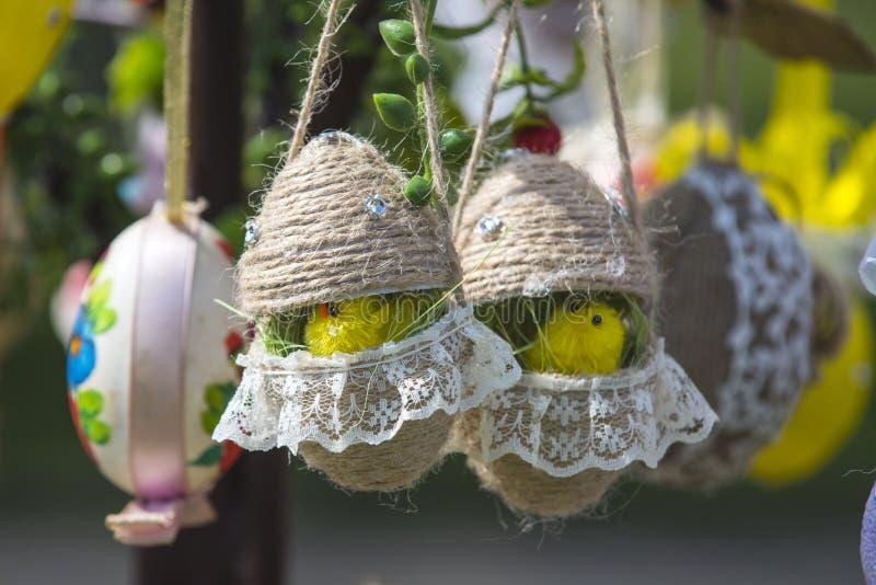 Цыплята пасхального яйца висят на дереве весны стоковое изображение rf