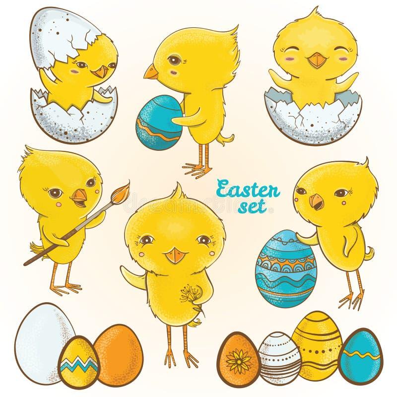Цыпленоки пасхальных яя вектор комплекта сердец шаржа приполюсный бесплатная иллюстрация