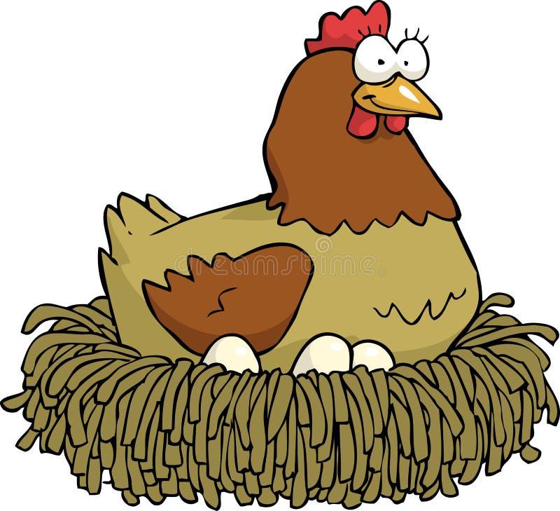 Цыпленок и яичка иллюстрация штока
