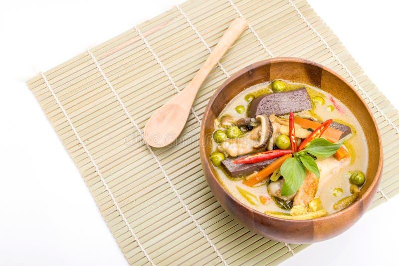 Цыпленок карри зеленого цвета еды Таиланда стоковое фото rf