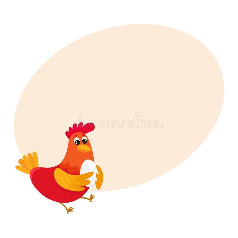 Цыпленок смешного шаржа красный, курица стоя и усмехаясь счастливо бесплатная иллюстрация