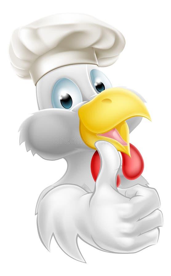 Цыпленок шаржа шляпы кашевара иллюстрация штока