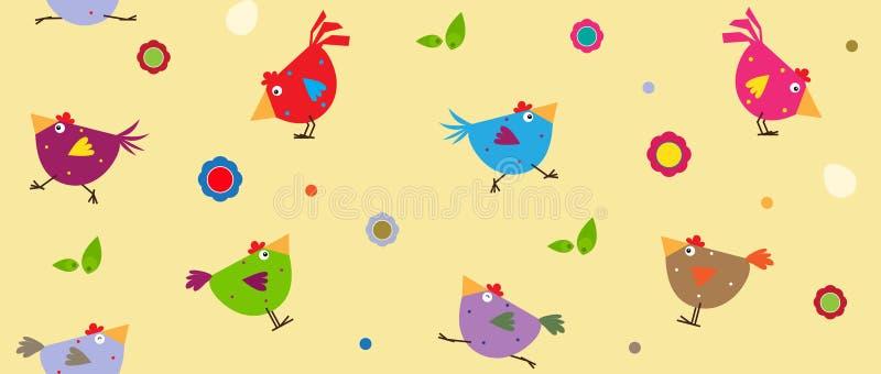 цыплята цветастые иллюстрация штока