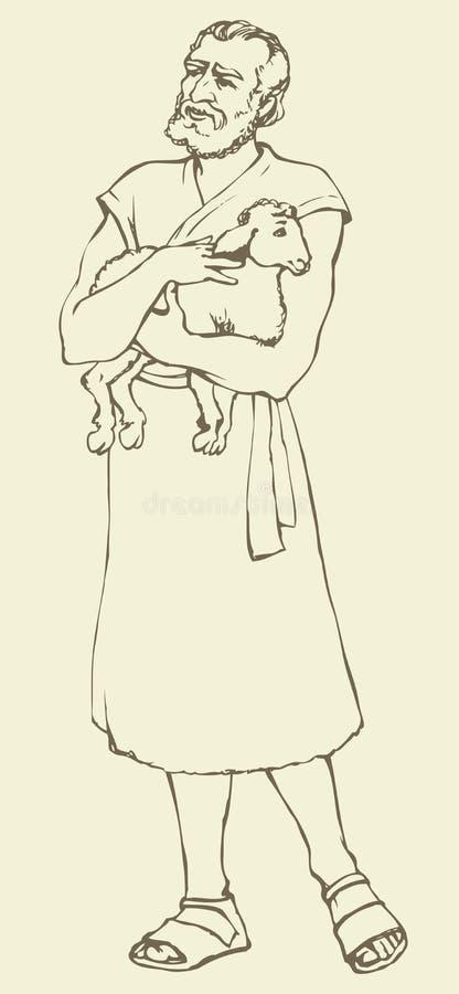 Чабан держа овечку предпосылка рисуя флористический вектор травы иллюстрация штока