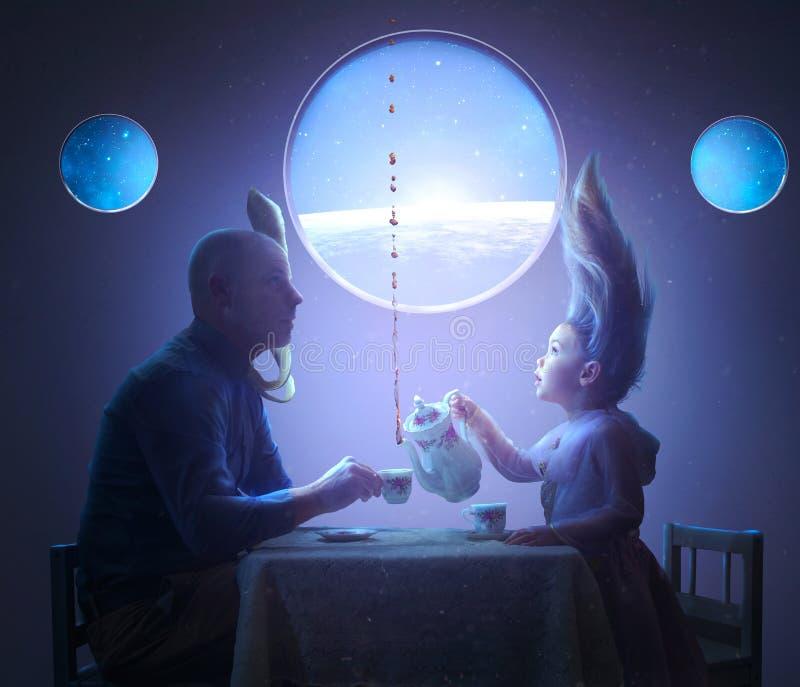 Чаепитие в космосе стоковая фотография