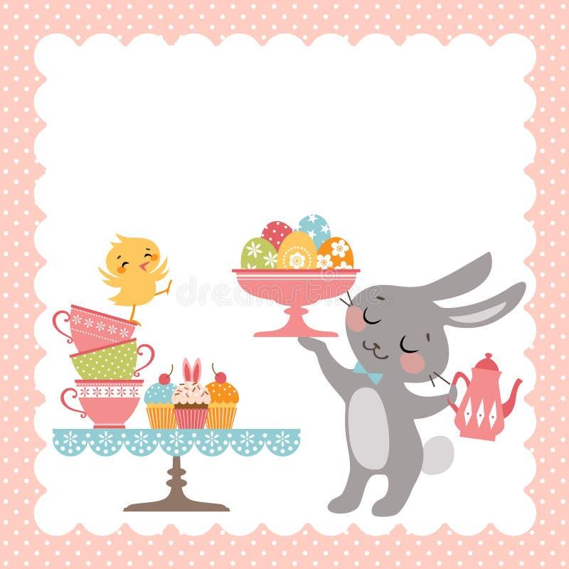Чаепитие кролика пасхи иллюстрация штока