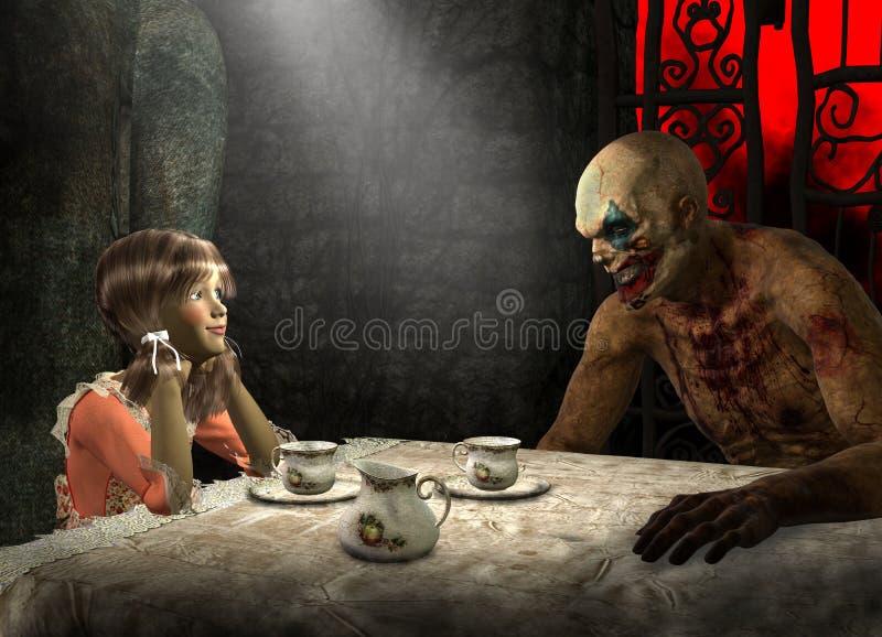 Чаепитие хеллоуина, игра детей иллюстрация штока