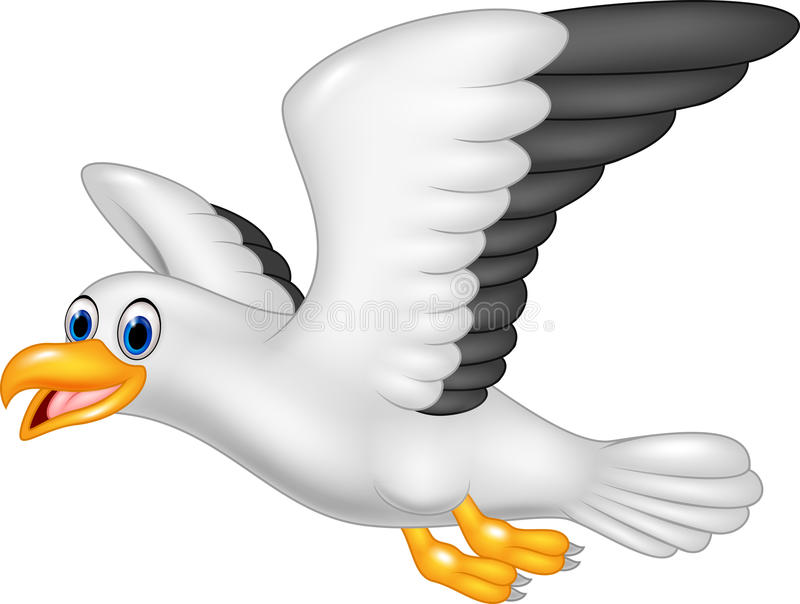Чайка летания шаржа изолированная на белой предпосылке иллюстрация штока