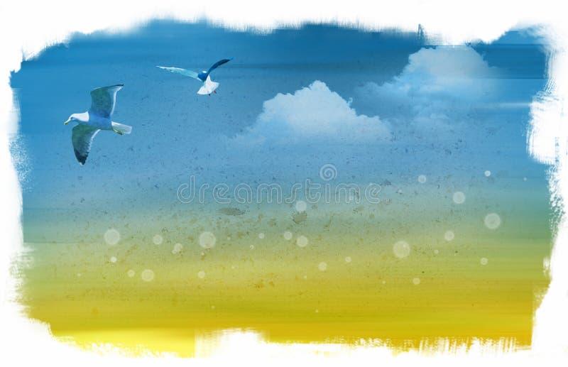 чайка летания иллюстрация вектора