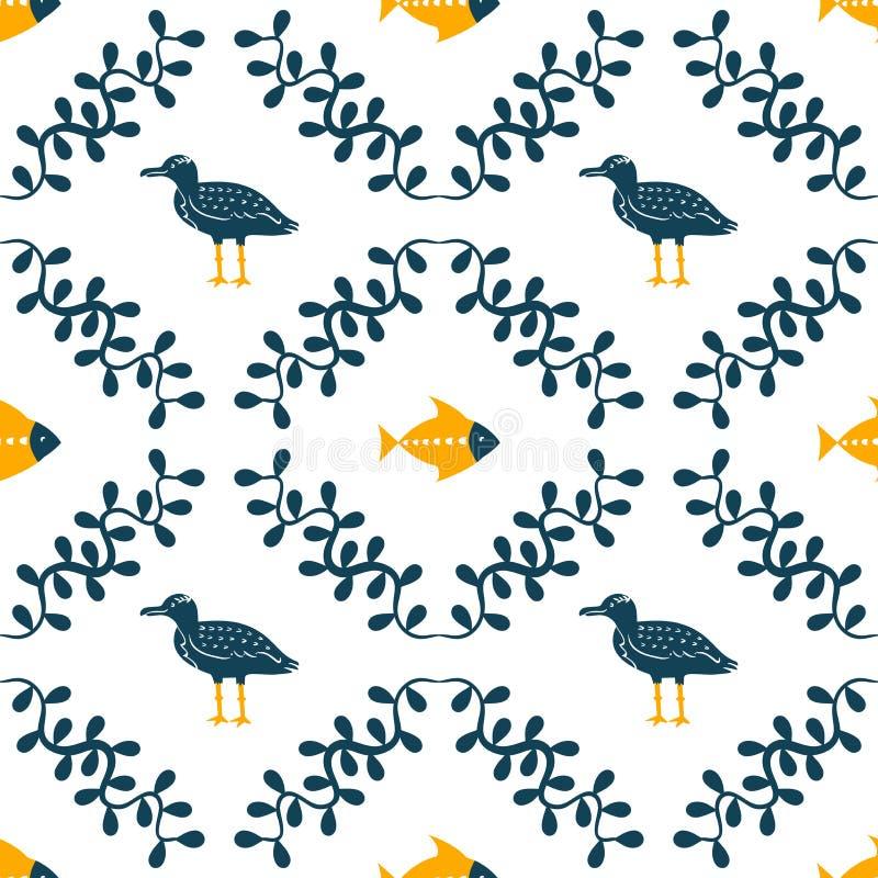 Чайка моря, рыбы и печать флористической водоросли простая вводя в моду Цвет 2 Печать для сувениров стиля футболки и моря детей иллюстрация штока
