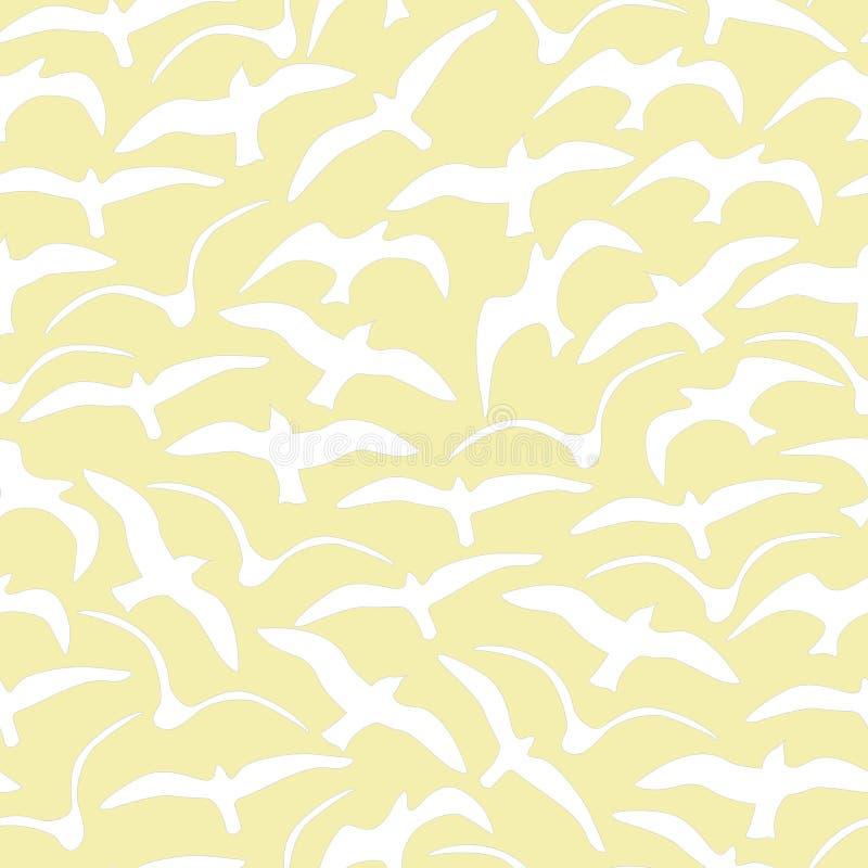 Чайки вектора желтые и белая безшовная картина повторения бесплатная иллюстрация