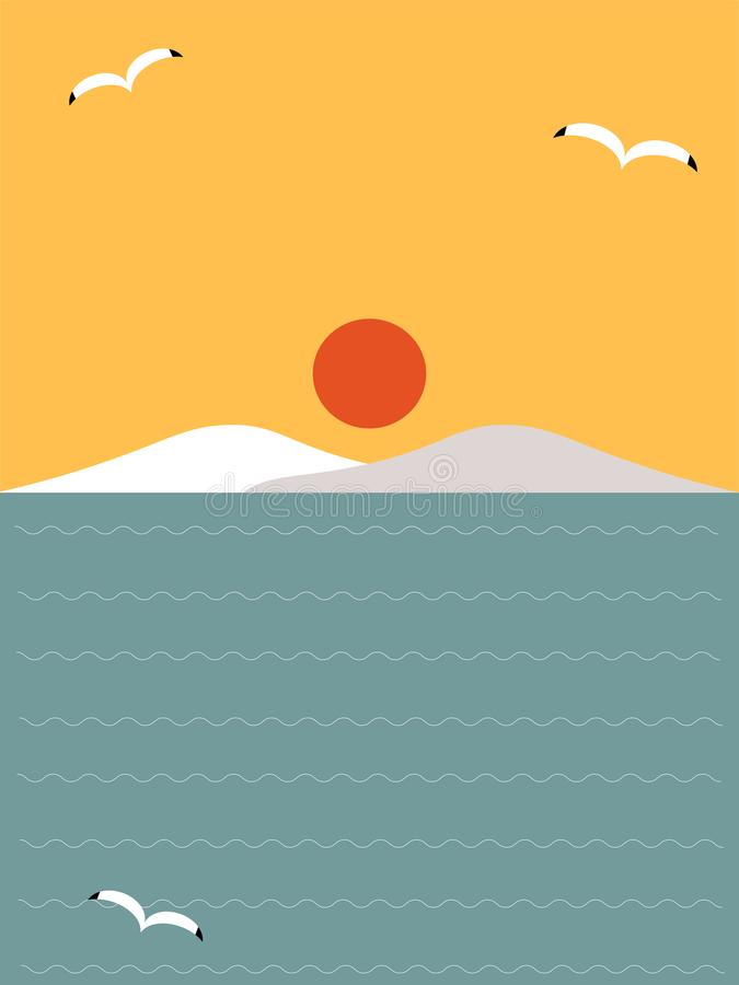 Чайки и заход солнца на море иллюстрация штока