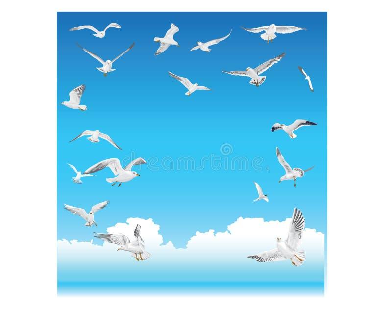 Чайки летают в небо иллюстрация вектора