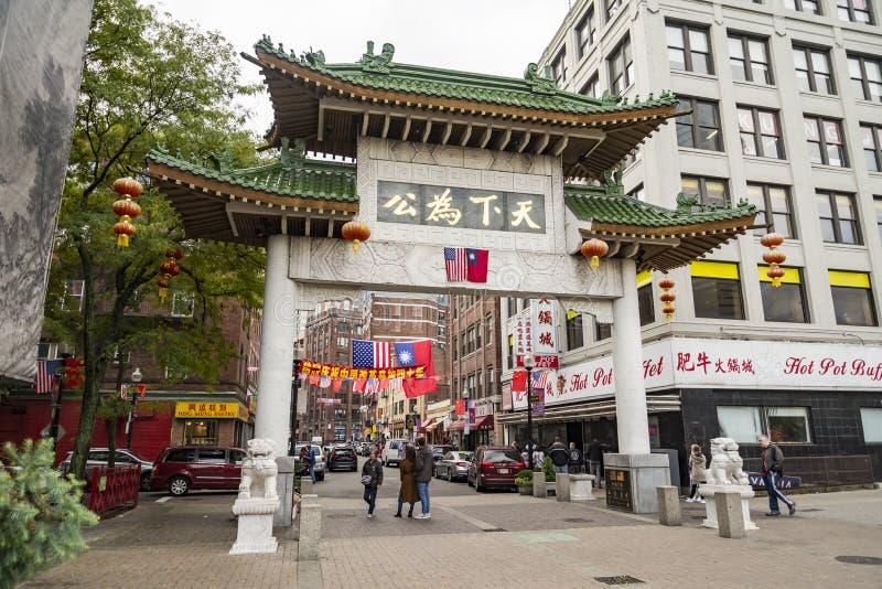 Чайна-таун Бостон единственный район выдерживать Чайна-таун в области Новой Англии Соединенных Штатов стоковая фотография rf