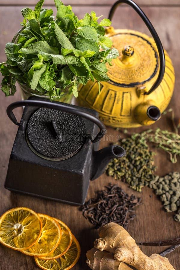 2 чайника с различным чаем стоковое фото
