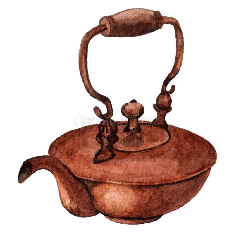 Чайник акварели винтажный установил для чаепития иллюстрация штока
