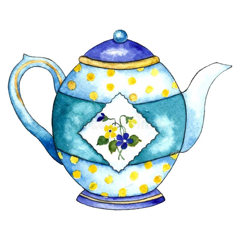 Чайник акварели иллюстрация штока