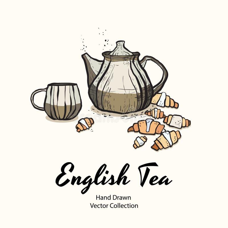 Чайник Брауна, чашка, круассаны вручает вычерченный старый стиль иллюстрации вектора для меню кафа, логотипа, знамени, flayer иллюстрация штока