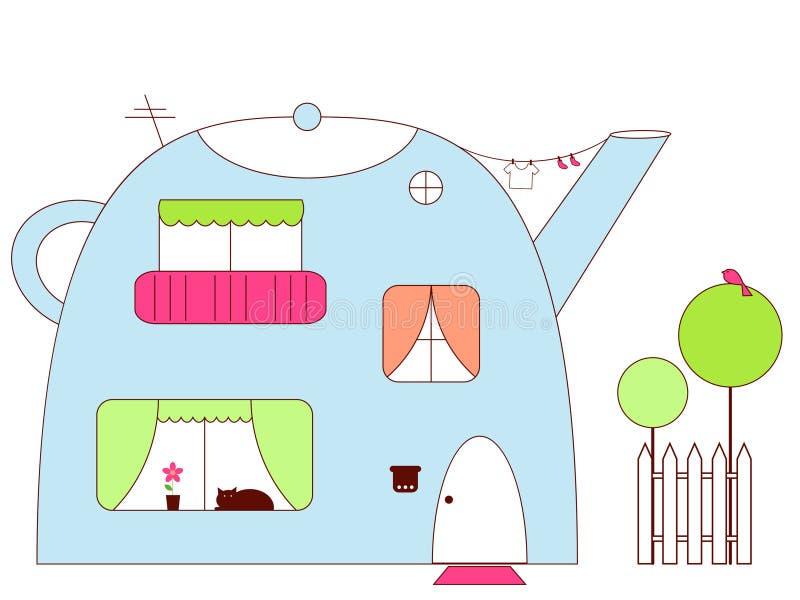чайник дома иллюстрация вектора