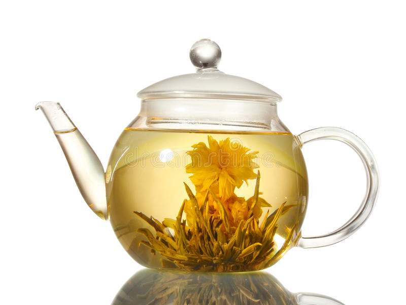 чайник зеленого чая экзотических цветков стеклянный стоковое изображение rf