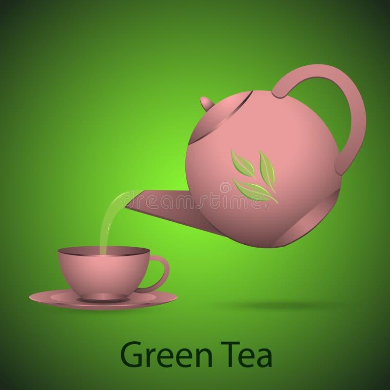 Чайник зеленого чая иллюстрация вектора