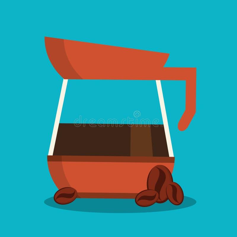 Чайник дизайна кофейни иллюстрация штока