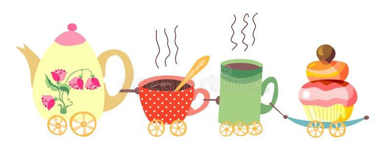 Чайник и поезд чашек бесплатная иллюстрация