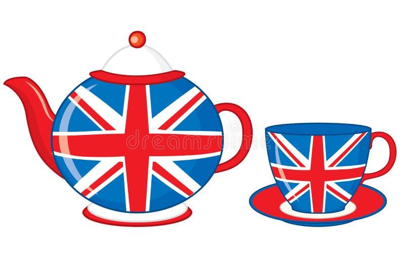 Чайник и чашка вектора украшенные с печатью флага британцев иллюстрация вектора