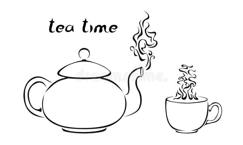 Чайник и чашка с испаряться чай изолированный на белой предпосылке иллюстрация вектора