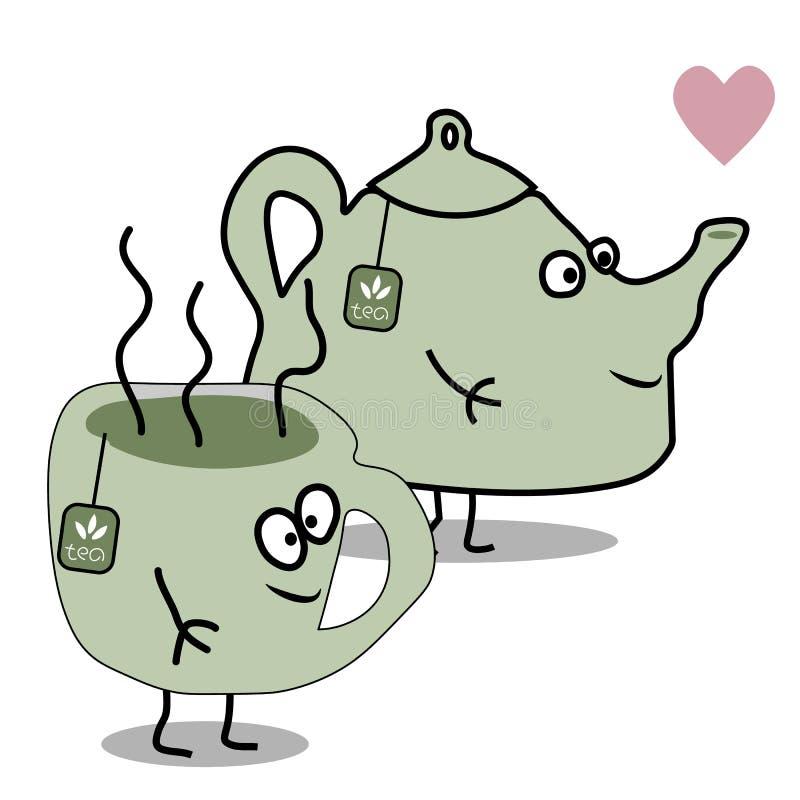 Чайник и чашка чаю вектора шаржа плоские иллюстрация вектора