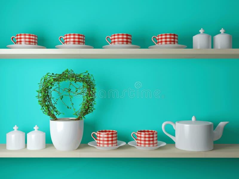 Чайник и чашки на полке иллюстрация штока