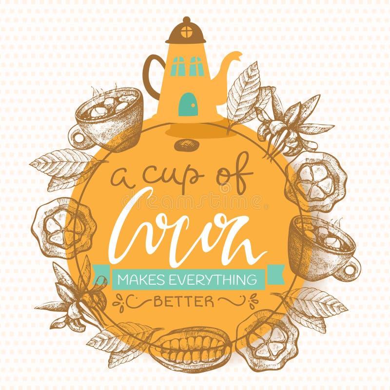 Чайник какао и шоколада, чашка и бобы кака с помечать буквами иллюстрацию вектора Плакат стиля каллиграфии Зима горячая иллюстрация штока