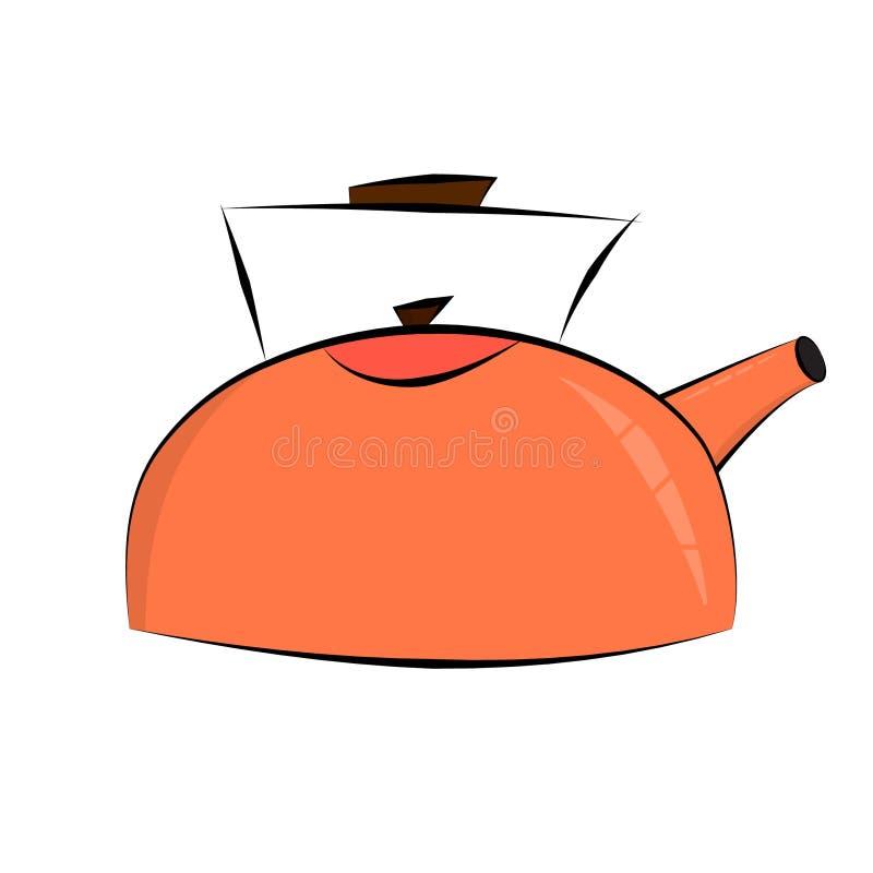 Чайник кипит значок в плоском стиле Концепция кипит голову пришелец Иллюстрация в стиле шаржа иллюстрация штока